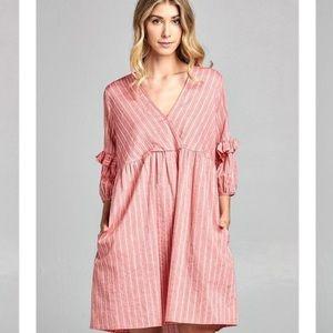 Babydoll vneck ruffle sleeves corral striped dress